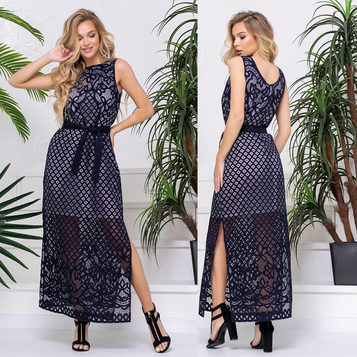 """Літній темно-синє плаття довге розміри 42-52 """"Меліса максі"""""""