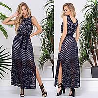 """Літній темно-синє плаття довге розміри 42-52 """"Меліса максі"""", фото 1"""