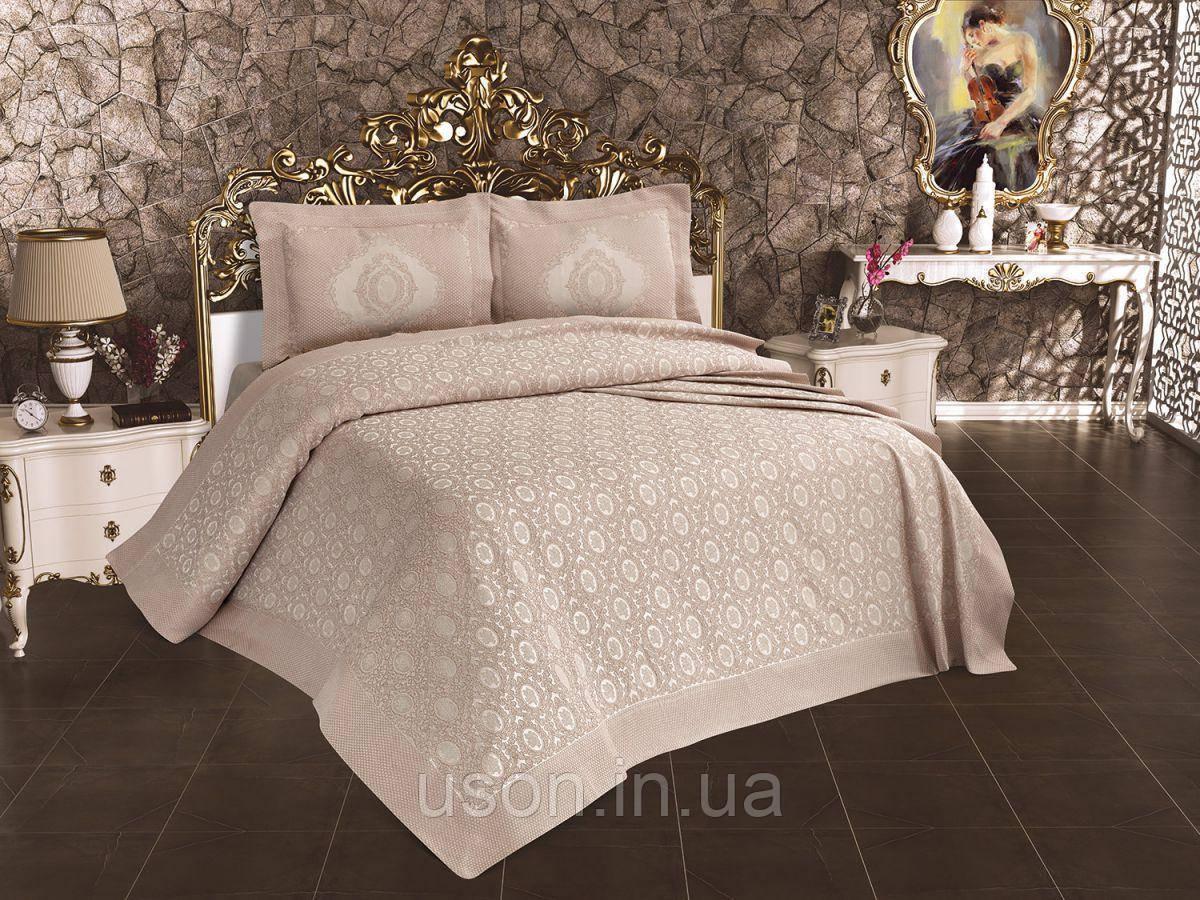 Жаккардовое турецкое покрывало с наволочками 240*260 Miss Bella Antik серый