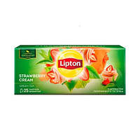 Чай зеленый Липтон клубника со сливками 25 пакетиков