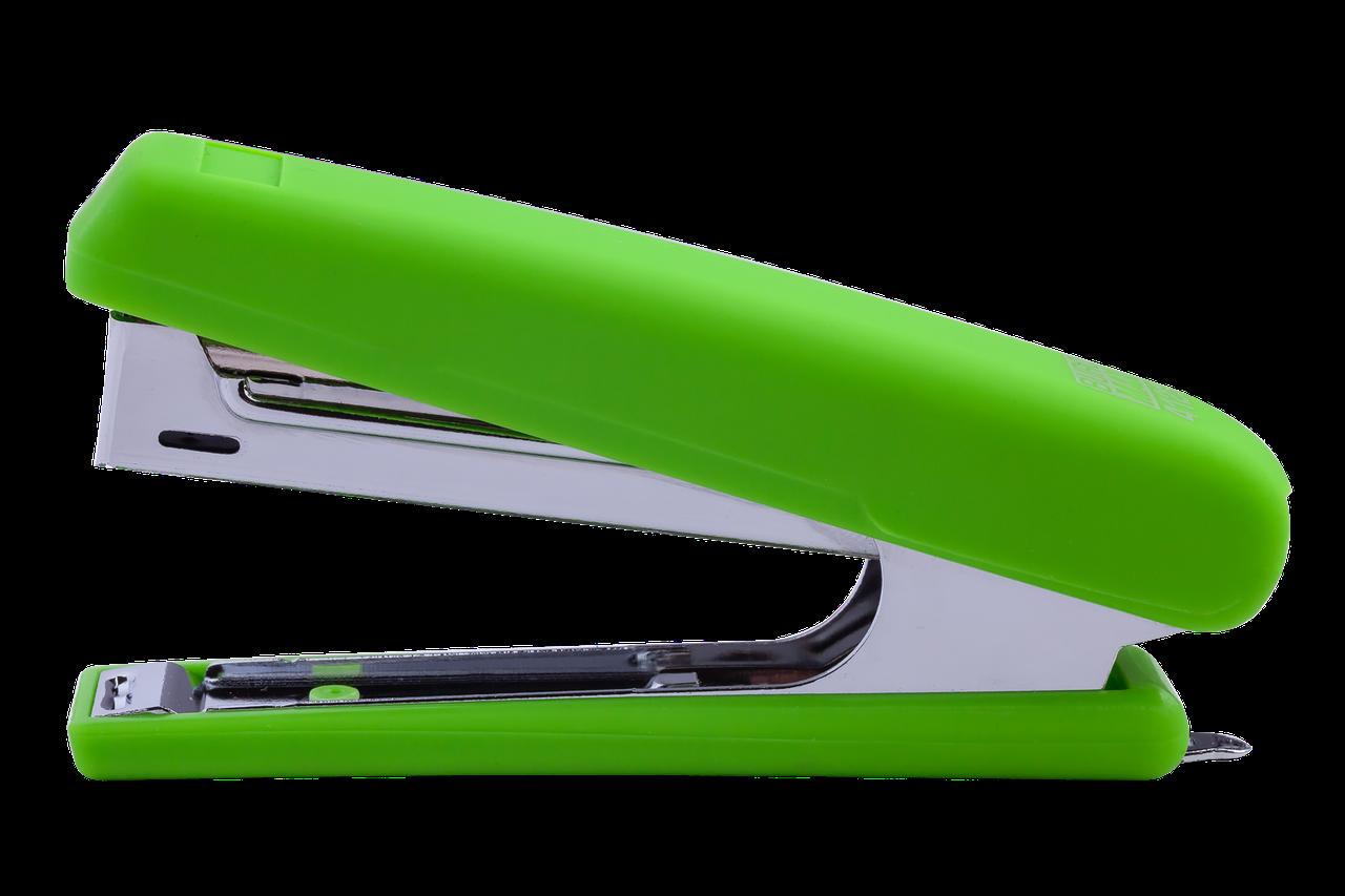 Степлер пластиковый, RUBBER TOUCH, 12 л., (скобы №10),  светло-зеленый BM.4128-15