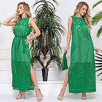 """Зеленое длинное платье летнее из льна 42-52 """"Мелиса макси"""""""