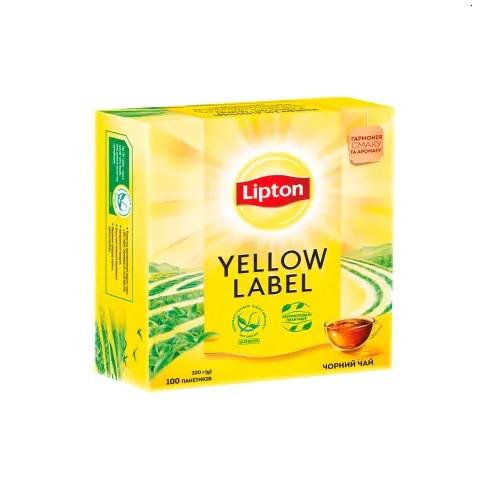 Чай Липтон 100 пакетиков Yellow Label чёрный