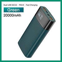 PowerBank KUULAA KL-YD08 20000mAh, QC3.0, PD, Type-C, Lightning GREEN Быстрая зарядка, повербанк
