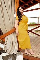 Летнее платье рубашка для полных горчичное с поясом и прошвой