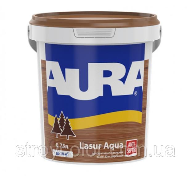 Лак-лазурь Тик акриловый для древесины Aura Lasur Aqua 0,75л (аквалазурь аура)
