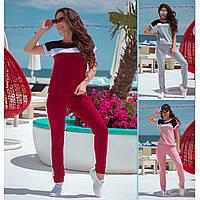 Женский летний спортивный прогулочный костюм бордовый серый пудровый футболка с штанами хлопка 48-50 52-54 хит
