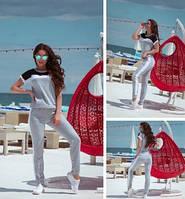 Женский летний спортивный прогулочный костюм бордовый серый пудровый футболка с штанами хлопка 42-44 44-46 хит