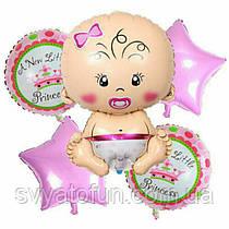 """Набор фольгированных шаров """"Малышка"""" 5шт Китай"""