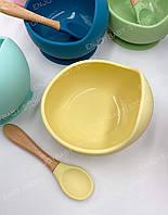 Тарелка с присоской и ложка детская силиконовая (желтая)