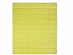 Самоклеющаяся декоративная 3D панель под кирпич / Цвет Лимонный 700*770*7мм