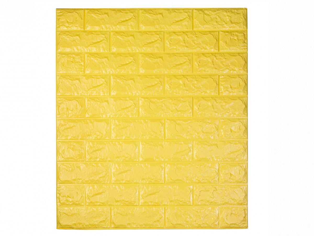 Самоклеющаяся декоративная 3D панель под кирпич / Цвет Желтый 700*770*7мм