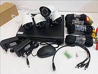 Комплект, система видео наблюдения Регистратор + 4 проводных камеры DVR KIT 520AHD\1080 2mp\4ch