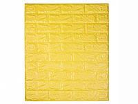 Самоклеюча декоративна 3D панель під цеглину / Колір Жовтий 700*770*7мм