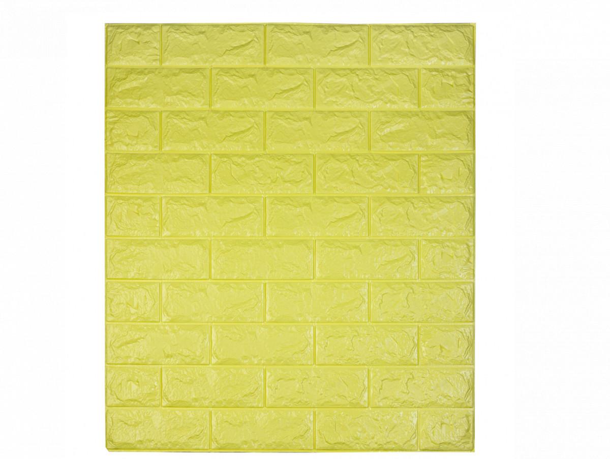Самоклеюча декоративна 3D панель під цеглину / Колір Лимонний 700*770*7мм
