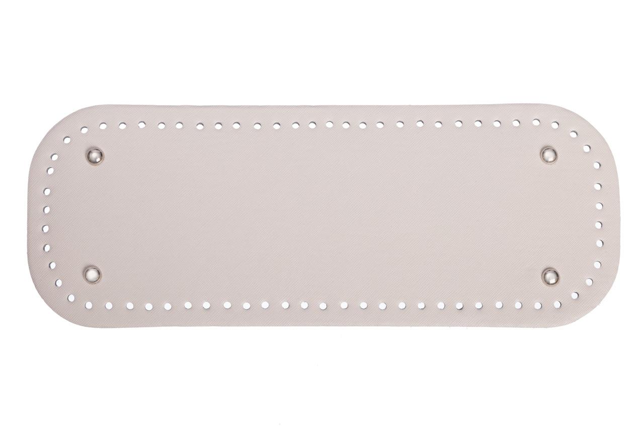 АКЦИЯ Донышко прямоугольное экокожа 12,5*33 см, Молочное с ножками серебро