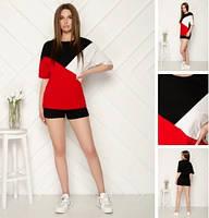 Женский летний спортивный прогулочный костюм черный красный желтый мятный футболка с шортами хлопка 4244 4446