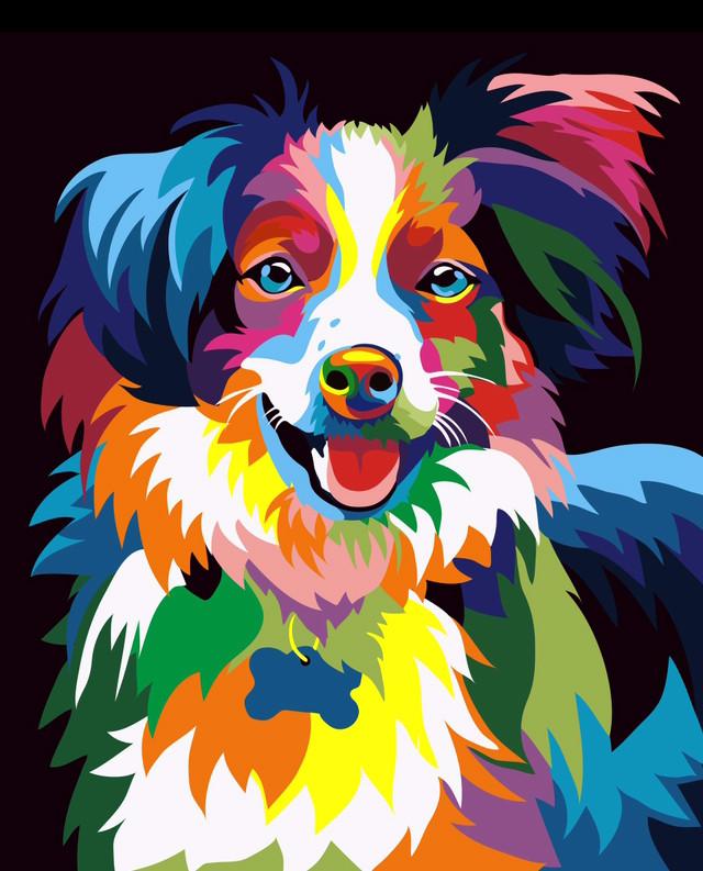 Ваш питомец в стиле поп арт на заказ по фото (портрет любимца Радужная собака)