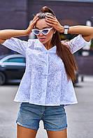 Натуральная легкая свободная блуза из прошвы (Кани jd)