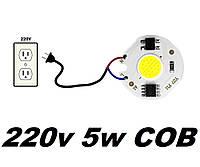 Світлодіодна LED матриця COB 220v 5w біла Y27 для світлодіодних ламп та прожекторів