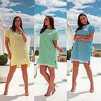 Женское летнее короткое платье большого размера в клетку желтое зеленое голубое с хлопка короткое 48-50 52-54