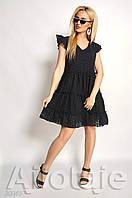 Черное летнее женское платье А-силуэта  из прошвы.