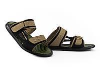 Шлепанцы\шлепки мужские черные оливковые кожаные летние 41-44 размер Обувь для мужчин на лето Splinter Украина