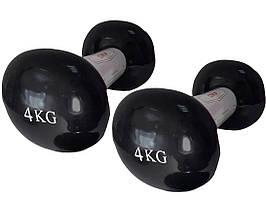 Гантели LiveUp Vinyl Dumbbell EGG HEAD 4 кг Черный (LS2001-4) пара