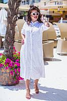 Женская стильная рубашка-халат .Ткань батист+вышивка+бисер. Рукав 3/4 Производство Индия. Модель шикарная