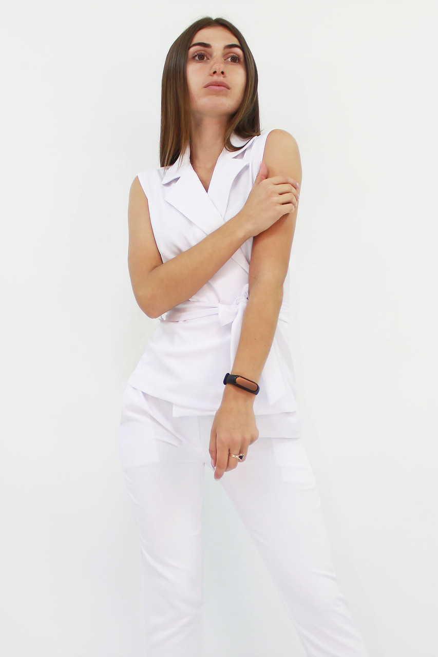 S | Стильний брючний костюм Archer, білий