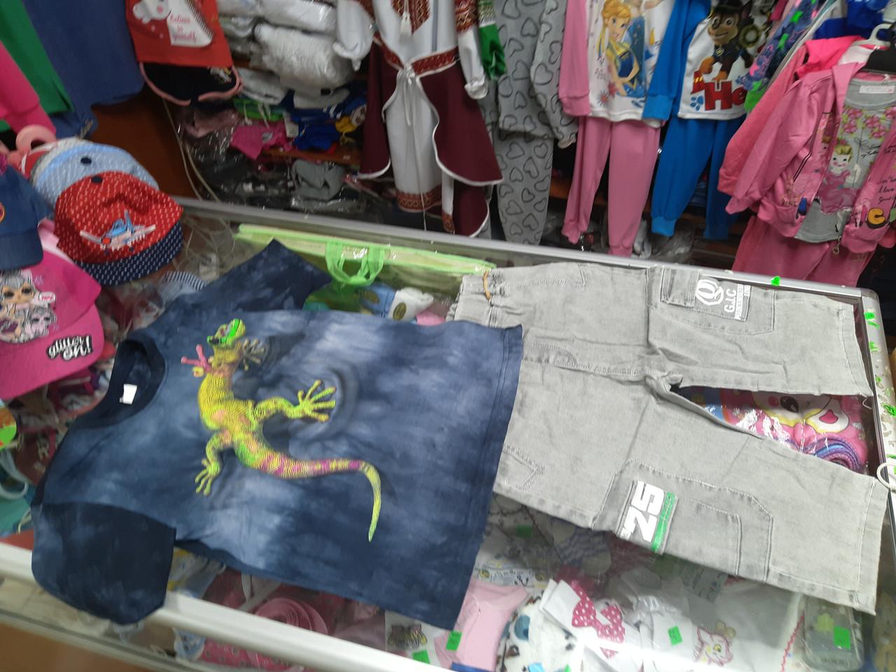 Летний костюм для мальчика футболка джинсовые шорты р.146 152