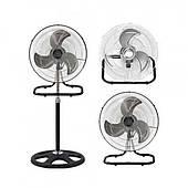 Вентилятор с металлическими лопостями напольный, 3 в 1 DomotecMS-1622, Мощность 55 ватт, 3 режима, настольный