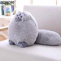 Мягкая игрушка подушка Кот серый