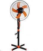 Вентилятор наольный, мощность 40 Ватт,  с таймером Domotec Чёрный, 3 скорости, регулировка высоты