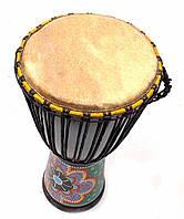 Барабан Джембе расписной дерево с кожей (60х29х29 см)