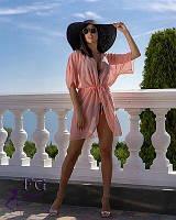Короткая пляжная туника персикового цвета