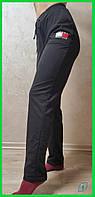 Женские черные прямые спортивные штаны на резинке со шнурочком