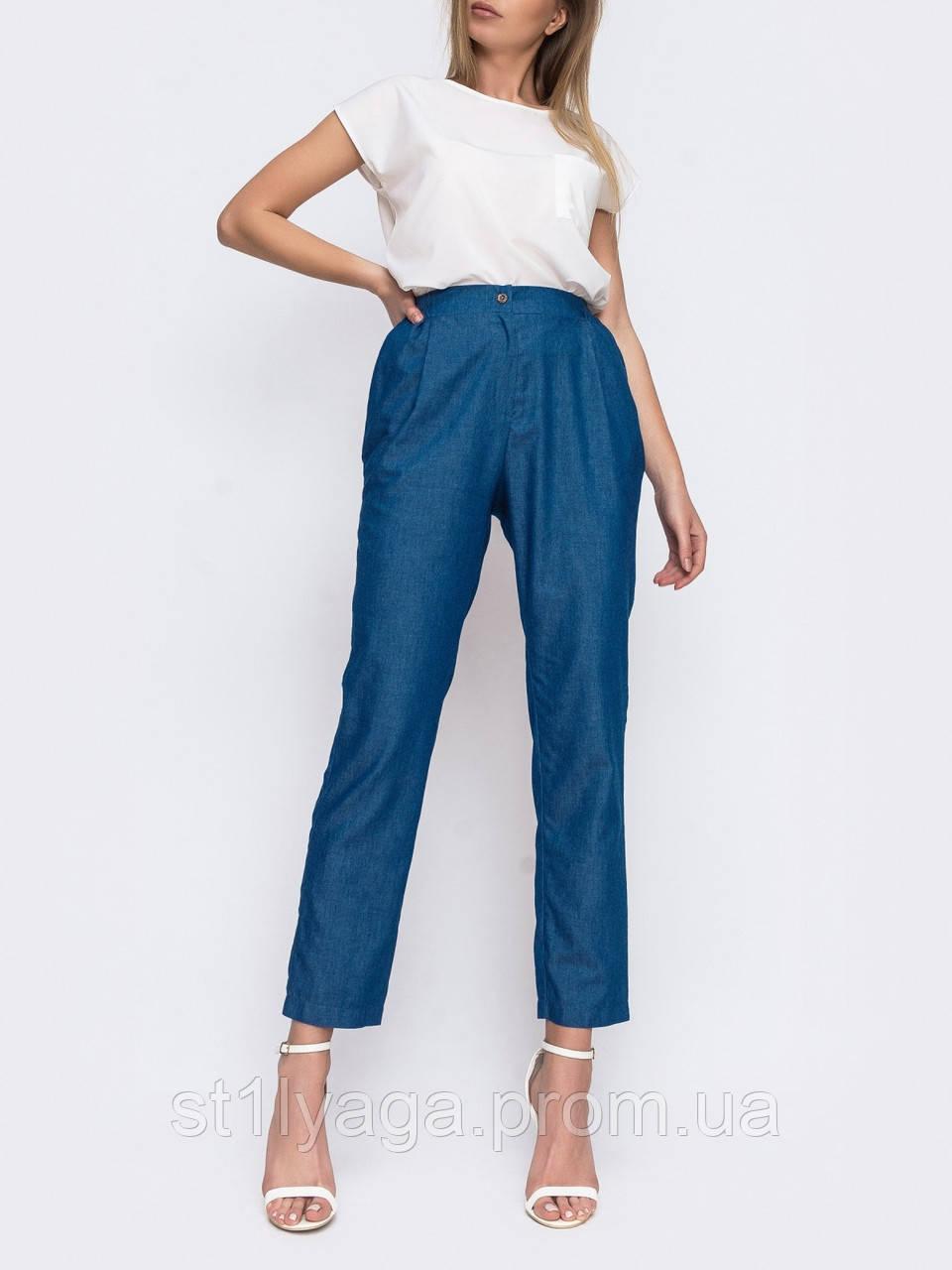 Укороченные джинсовый брюки в синем цвете ЛЕТО