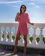 Короткая пляжная туника кораллового цвета, шифоновое парео