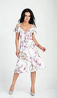 Легкое платье с принтом молочное, фото 1