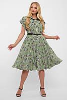 Красивое платье для полных девушек зеленое с карманами воздушное