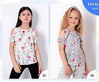 Блузка на 7-11 лет летняя с принтом