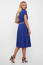Приталенное платье для полных летнее с карманами электрик, фото 2