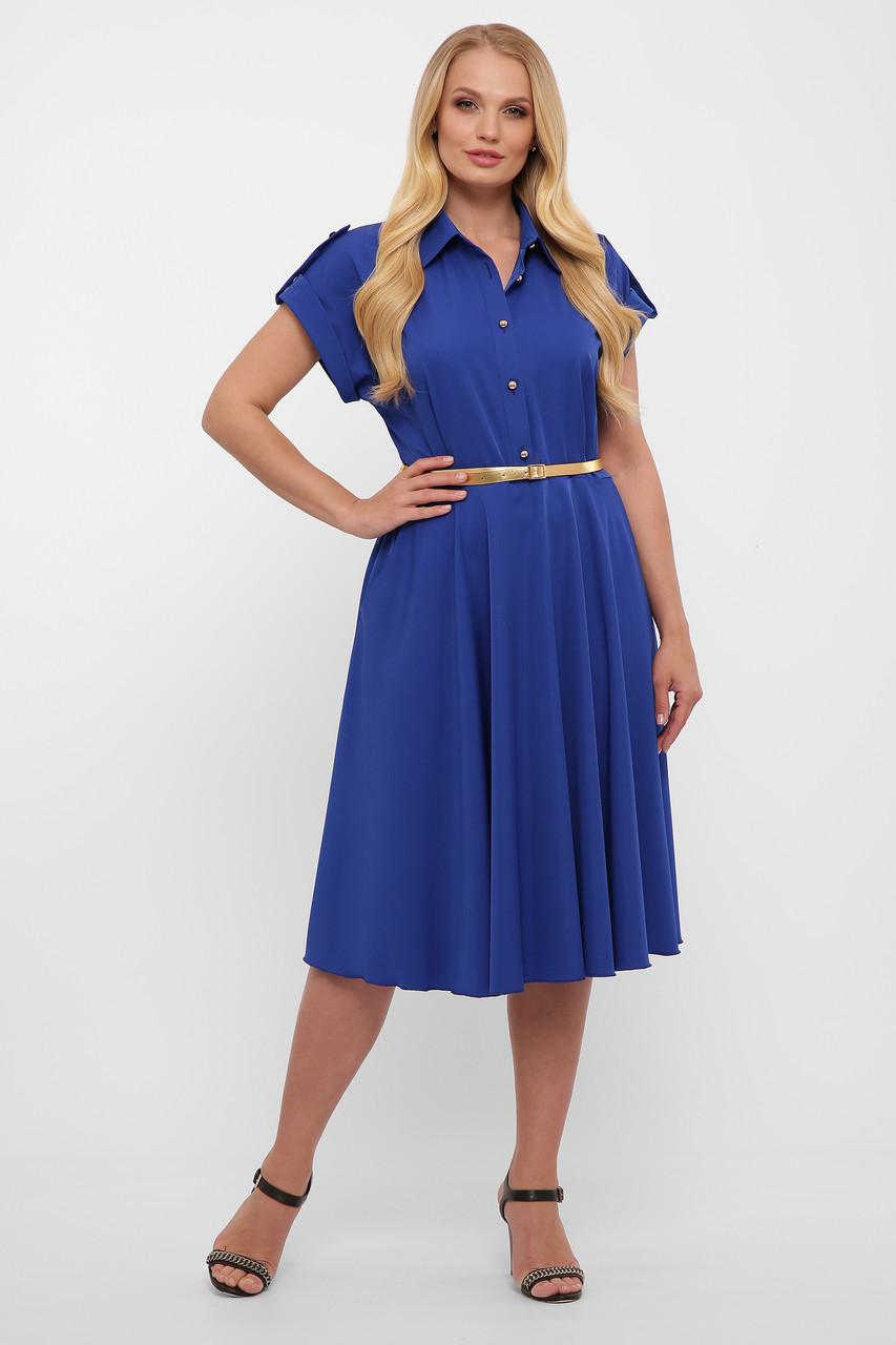 Приталенное платье для полных летнее с карманами электрик