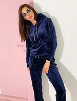 Женский темно-синий велюровый спортивный костюм Rocamoon™