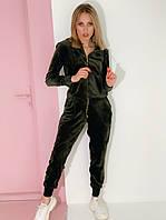 Женский темно-зеленый велюровый спортивный костюм на молнии (оверсайз) Rocamoon™
