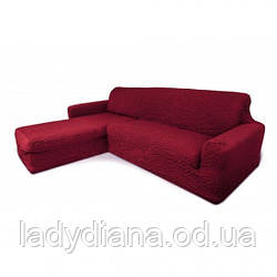 Чехол на угловой диван с выступом (оттоманкой), натяжной, жатка-креш, универсальный, бордовый