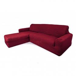 Чохол на кутовий диван з виступом (отоманкою), натяжний, жатка-креш, універсальний, бордовий