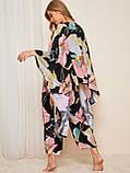Комплект для сна, дома из 4 предметов. Пижама женская из вискозы с цветочный принтом, размер L, фото 3