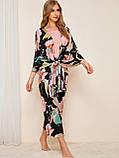Комплект для сна, дома из 4 предметов. Пижама женская из вискозы с цветочный принтом, размер L, фото 2